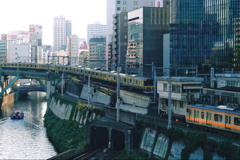 Two trains in the middle of Tokyo
