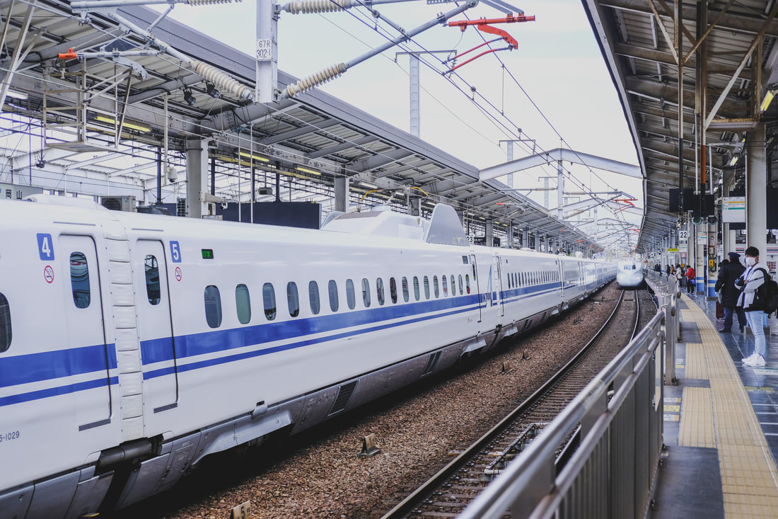 Shinkansen train at the station